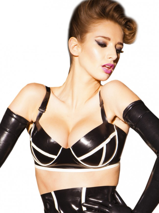Bordello Latex Bra Black & White R1741_A_2
