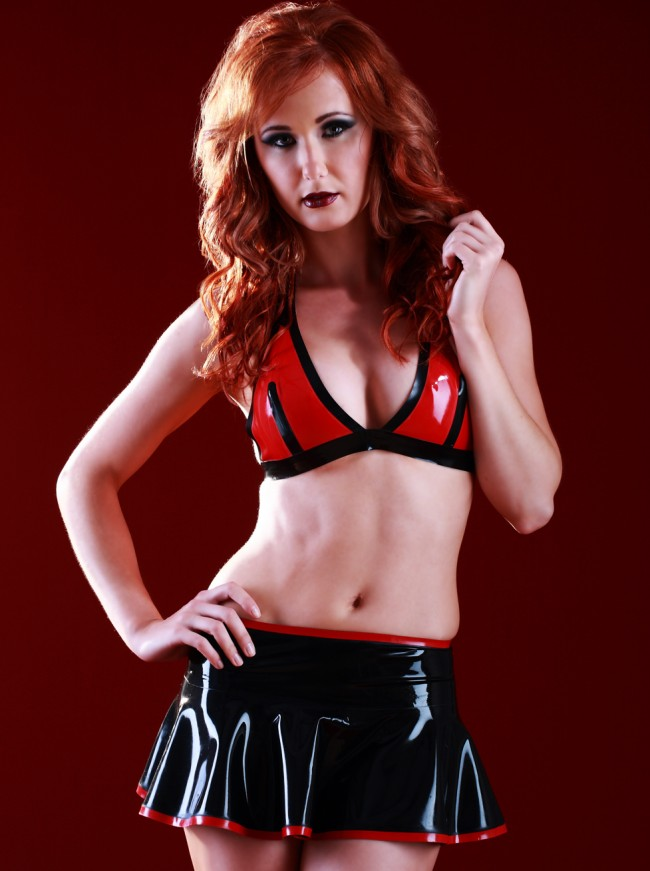 Latex Rubber Cheerleader Skirt SR1116_C